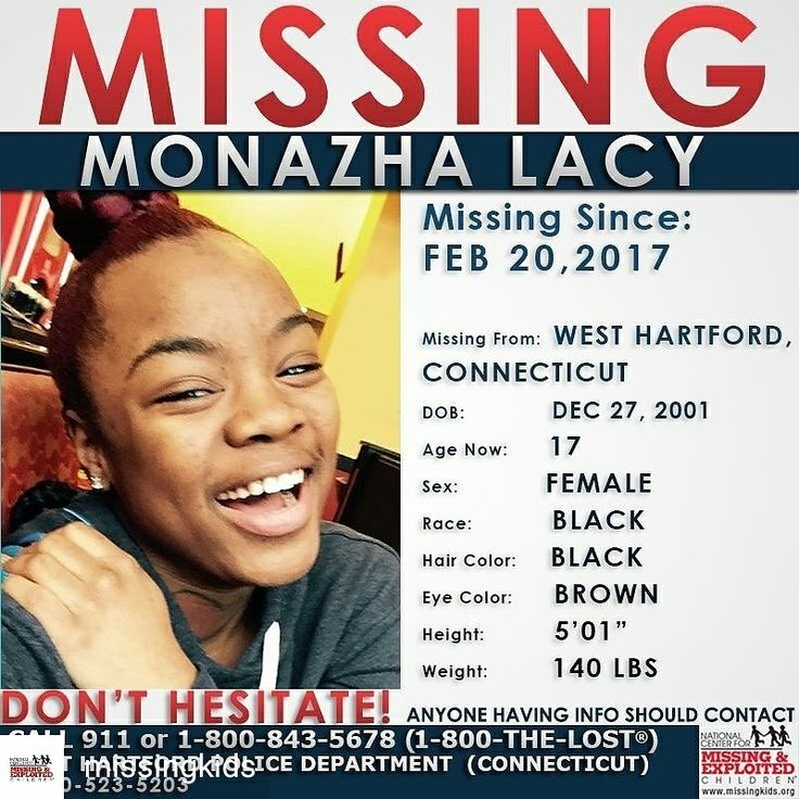 BOLO: Credit to @missingkids : #MISSING  Monazha was last seen on February 20, 2017 in #WestHartford, #Connecticut.  Anyone with information is urged to call 1-800-THE-LOST (1-800-843-5678) or West Hartford Police Department (Connecticut)  1-860-523-5203 with any information concerning the disappearance or current whereabouts of Monazha.  http://www.missingkids.com/poster/NCMC/1290139 Missy 😉