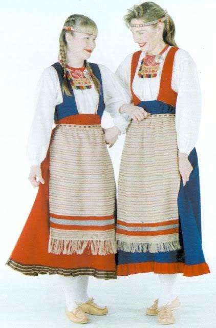 Finish Folk costumes of Sakkola, (Karelia)