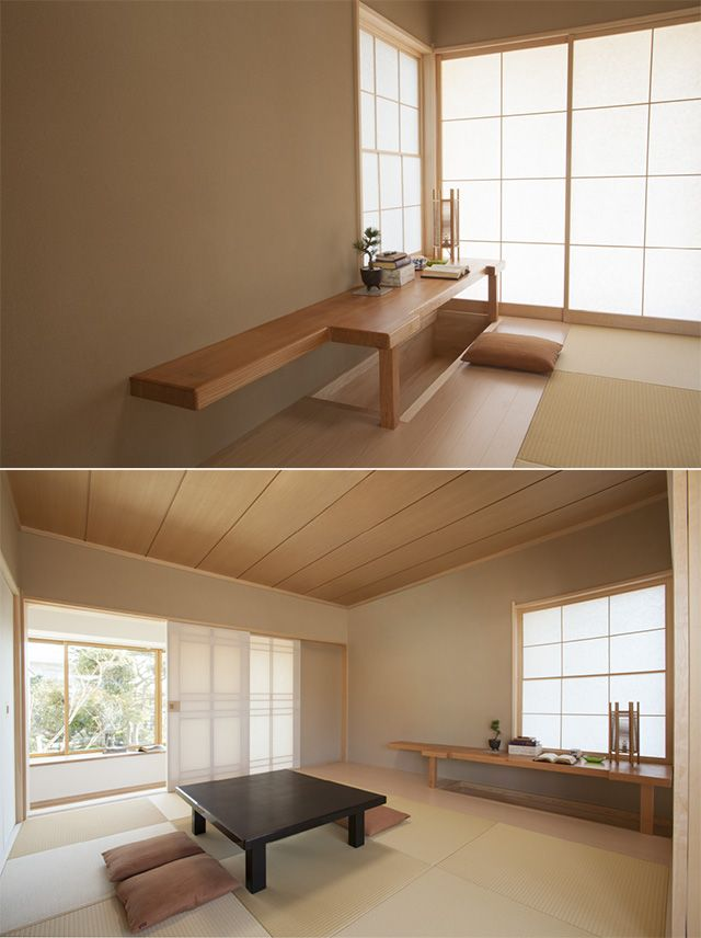 3両面組子の障子から、柔らかな光が降り注ぐ和室。長年使い慣れた書斎机の天板を削り直して、座卓に再生しました。 障子を開けると、庭の眺めが広がります。|和室|インテリア|おしゃれ|自然素材|