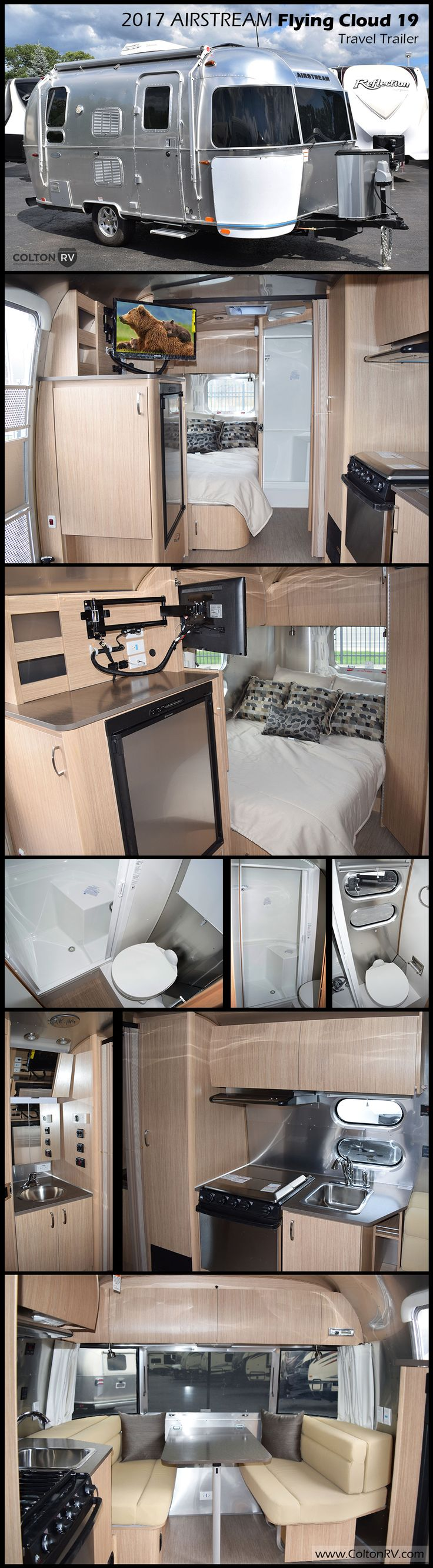 """Built to last, this 2017 FLYING CLOUD 19 travel trailer by AIRSTREAM moves """"like a stream of air""""… cutting down on drag and resulting in better gas mileage plus they have a low center of gravity which means more stability when it comes to turns and gusts of wind. You will enjoy the view from the large panoramic window up front!"""