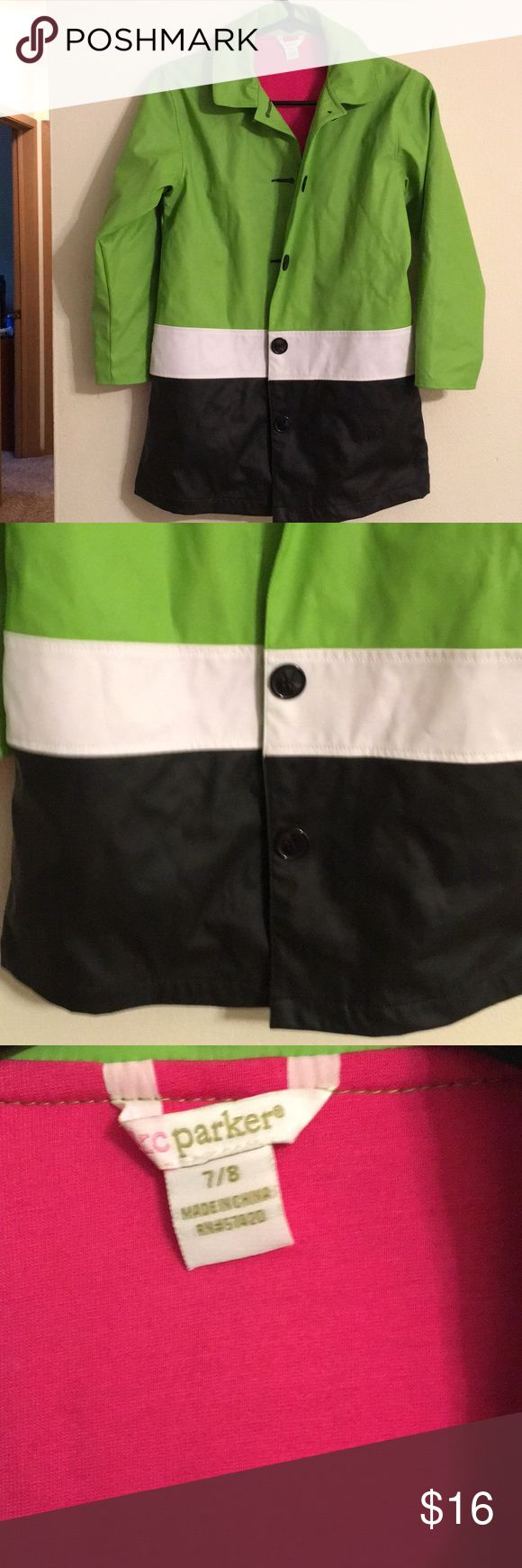 KC Parker Rain Coat Lined in pink, buttons down and colors are green, blue and white. KC Parker Jackets & Coats Raincoats