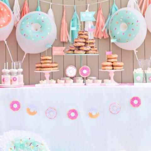 Donut Banner.  Find more donut party supplies at shopfancythat.com.