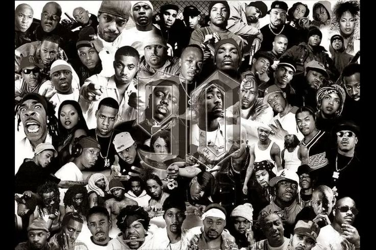 """What struck me about this collage of """"seminal"""" 90s hip hop ..."""