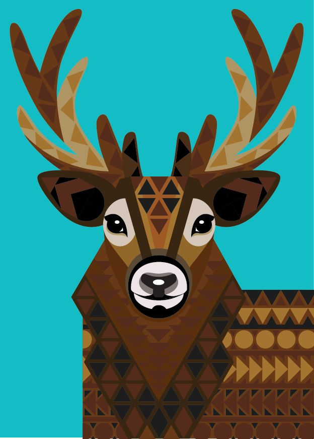 Geometric stag by joanna webster from sticker studio stag stickerstudio geometricart