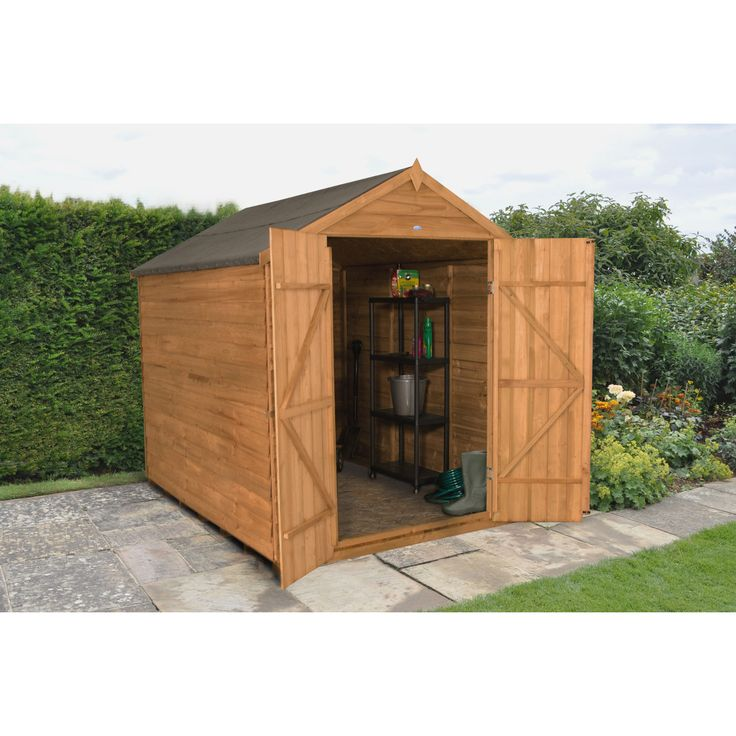 forest garden 6ft x 8ft overlap dip treated apex shed without windows next day delivery - Garden Sheds Quick Delivery