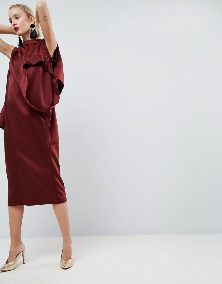 ASOS WHITE Satin Multi Sleeve Dress - Red