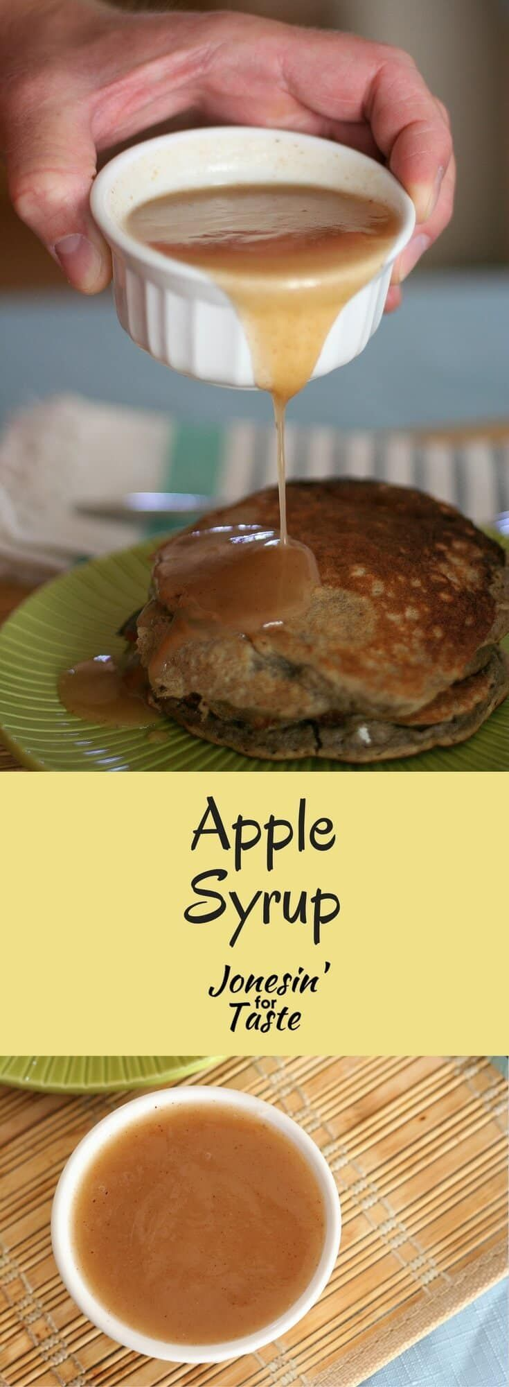 Apple syrup is a quick homemade syrup made with apple juice, Bisquik mix, and cinnamon that is delicious over pancakes.   via @jonesinfortaste
