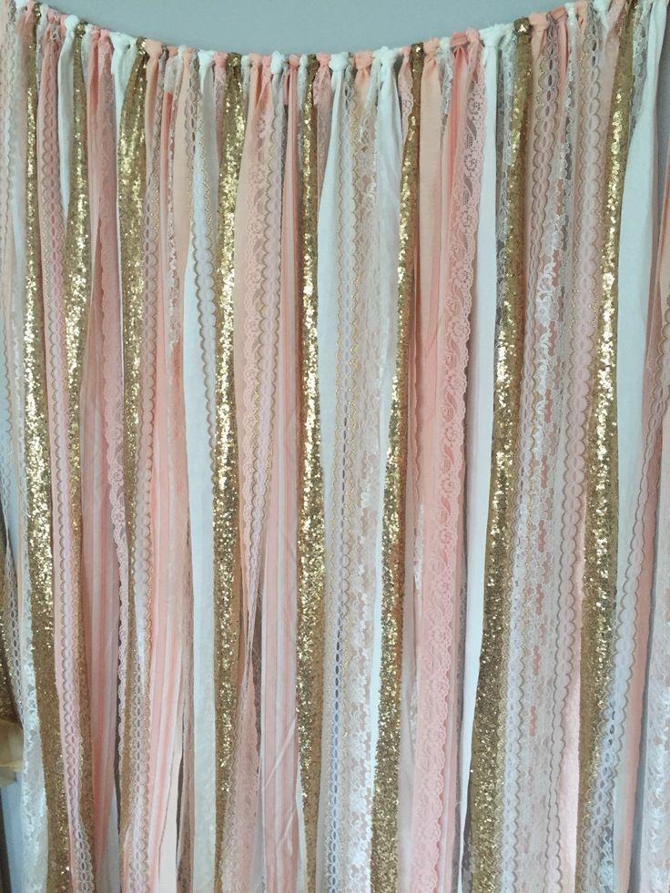 Melocotón rosa y oro brillo telón de fondo de tela por ohMYcharley