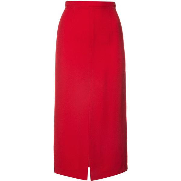 Tome midi pencil skirt ($695) ❤ liked on Polyvore featuring skirts, red, tome, red midi skirt, red pencil skirt, midi skirt and calf length pencil skirts