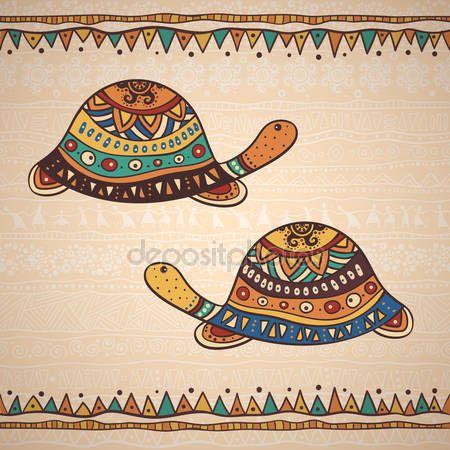 Скачать - Декоративный рисунок черепахи — стоковая иллюстрация #98506998