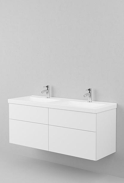 Två handfat. Underskåp med flera compartments Viskan underdel 130 (fyra fronter) - Moderna badrumsmöbler, Viskan – Aspen Badrum