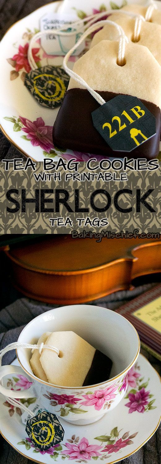 "Charming shortbread tea bag cookies, dipped in chocolate, with printable ""Sherlock"" tea tags from BakingMischief.com."