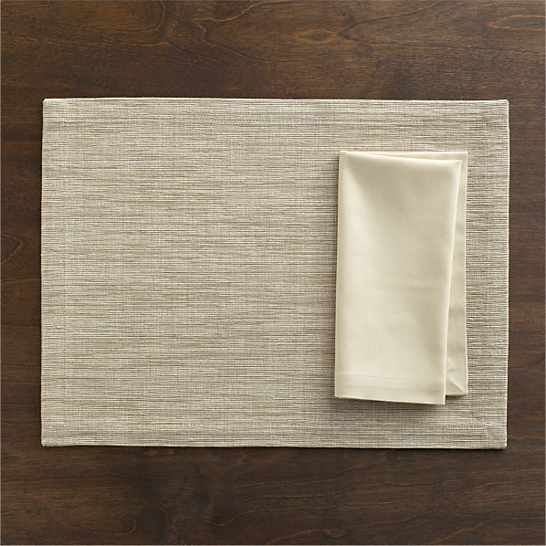 Grasscloth Neutral Placemat and Cotton Ecru Napkin in 20% off Entertaining Sale | Crate and Barrel