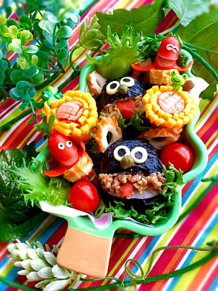 富士子's dish photo パッカンおにぎりのランチプレートベロベロバー | http://snapdish.co #SnapDish #レシピ #BENTO世界グランプリ2016 #キャラ弁 #お昼ご飯 #キャラクター