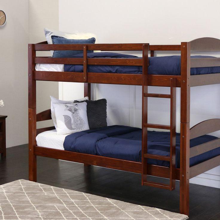 Walker Edison BWSTOTES Twin Solid Wood Bunk Bed - Espresso