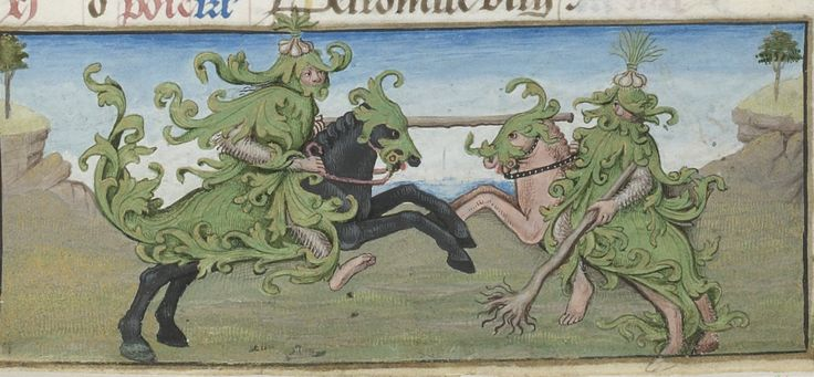 Two barefooted wild men (woodwoses?) joust with clubs. Note the onion plumes on their helms. Lower border, May. Calendar in the Hours of Charles d'Angoulême (Use of Paris), c. 1475-1500. BnF MS Latin 1173, fol. 3r. Bibliothèque nationale, Paris