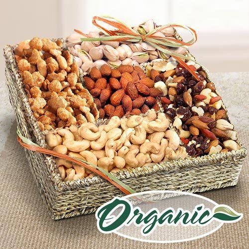 Mendocino Organic Nuts Gift Basket - http://mygourmetgifts.com/mendocino-organic-nuts-gift-basket/