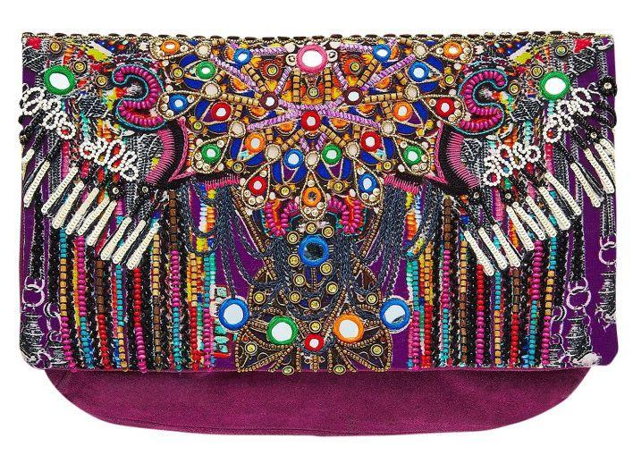 Camilla Franks Mandala Embellished Suede Clutch Bag