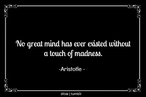 """""""No great mind has ever existed without a touch of madness."""" -Aristotle    http://whowasaristotle.com/?p=87"""