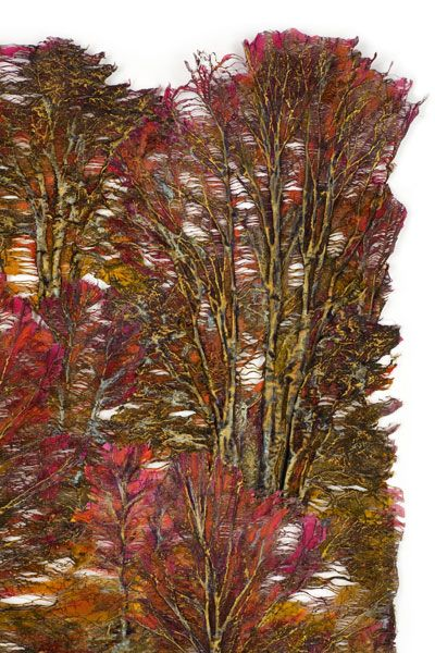 Lesley Richmond - made with textured transfers of photographs of trees, then painted with metal patinas & pigments.