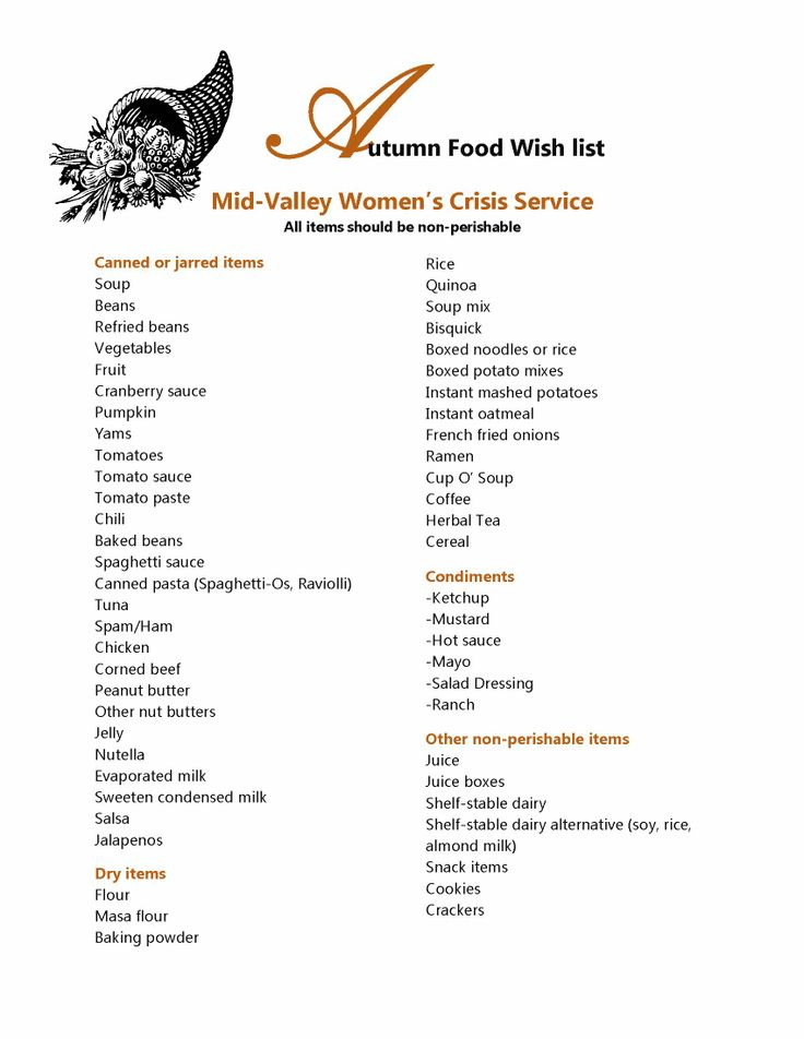 Nonperishable food items can always be used at our