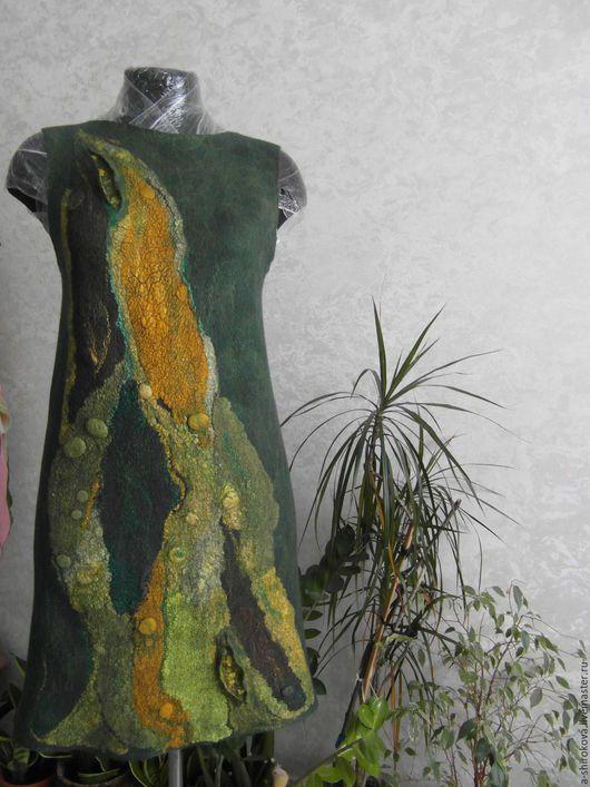 """Платья ручной работы. Ярмарка Мастеров - ручная работа. Купить Валяная туника """"Таинственный лес"""". Handmade. Тёмно-зелёный, сарафан"""
