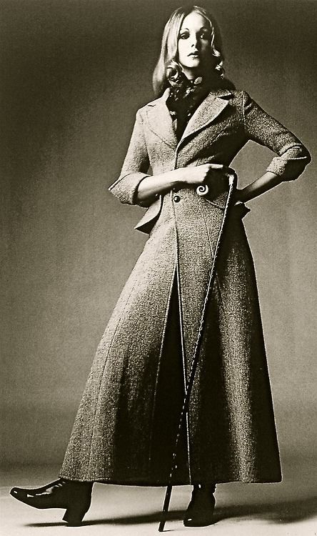 Harris Tweed maxi coat in soft pink by Ossie Clark 1968, Photograph by David Montgomery for Vogue.