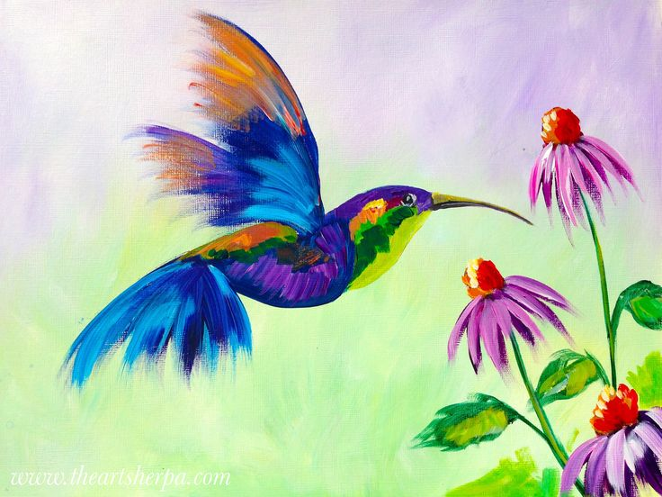Hummingbird in Flight with purple cone flowers acrylic on Canvas tutorial on youtube for the Art Sherpa