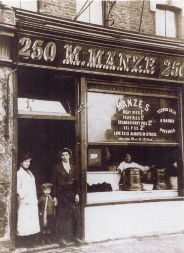 M.Manze was established in 1902 by Michele Manze - the present owners' Grandfather. We serve traditional Pie & Mash and Eels (jellied or stewed), in authentic surroundings. At Manze's, we still use the same recipes today for the pies and liquor as were used in 1902, the only changes made have been to improve quality and to meet the higher food standards of today.
