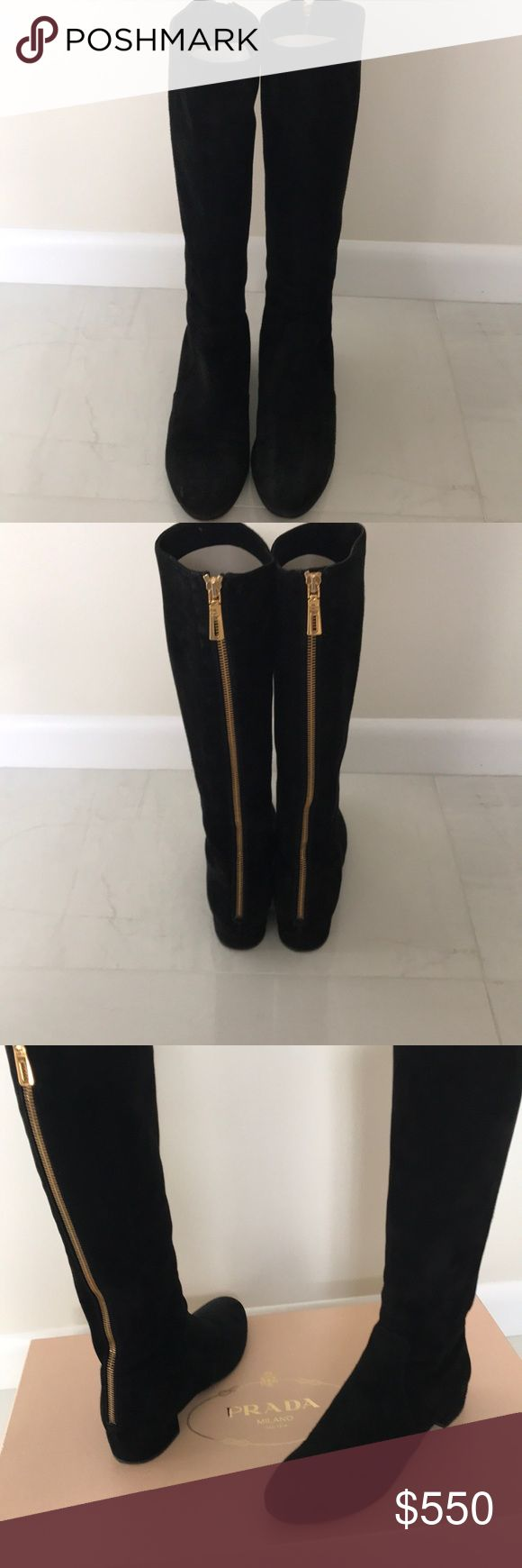 Prada women's boots Prada black suede to the knee boots in very good condition Prada Shoes