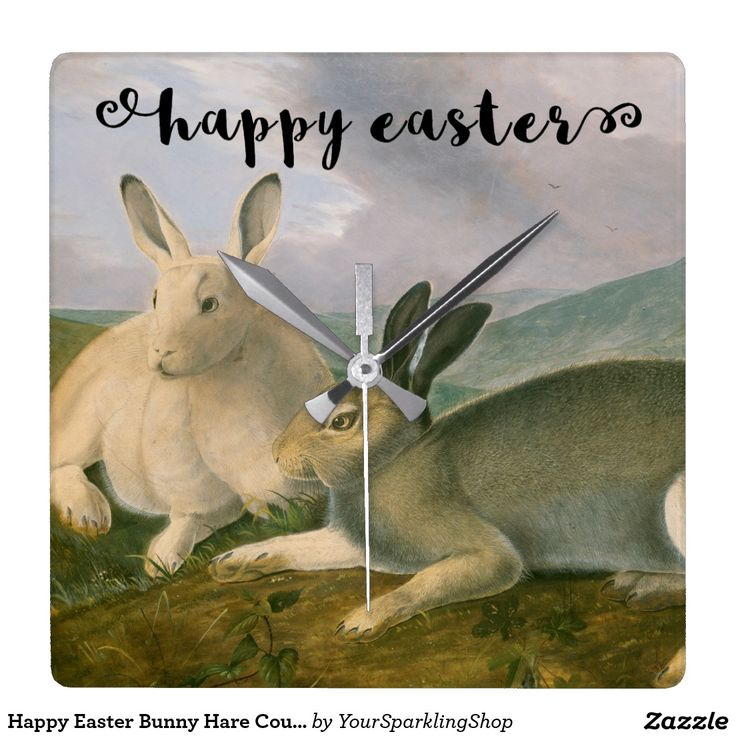 Happy #Easter Bunny Hare Couple Watercolor Vintage Painting Wall #Clock
