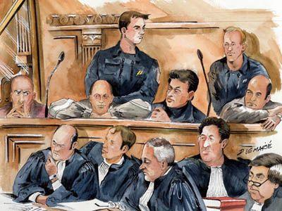 Accusé et avocats, Palais de justice de Paris par Dominique Lemarié