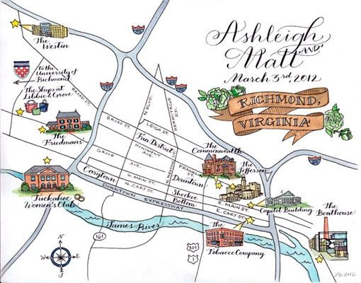 wedding map calligraphy illustration richmond virginia Hand Illustrated Wedding Maps