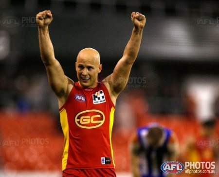Gary Ablett of the Suns celebrates after the 2013 AFL Round 11 match between the Gold Coast Suns and the North Melbourne Kangaroos at Metricon Stadium, Gold Coast on June 08, 2013. (Photo: Darrian Traynor/AFL Media