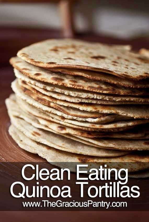 Quinoa Tortillas - Gluten Free!    Clean Eating Quinoa Tortillas  (Makes 18 tortillas)    Ingredients:    4 cups quinoa flour  3/4 cup brown rice flour  1 teaspoon salt  1 teaspoon olive oil  1-1/4 cup hot water  mix together well and separate into about 18 balls-use tortilla press and cook on skillet until dark brown spots appear/flip to cook on other side.   Eat warm!
