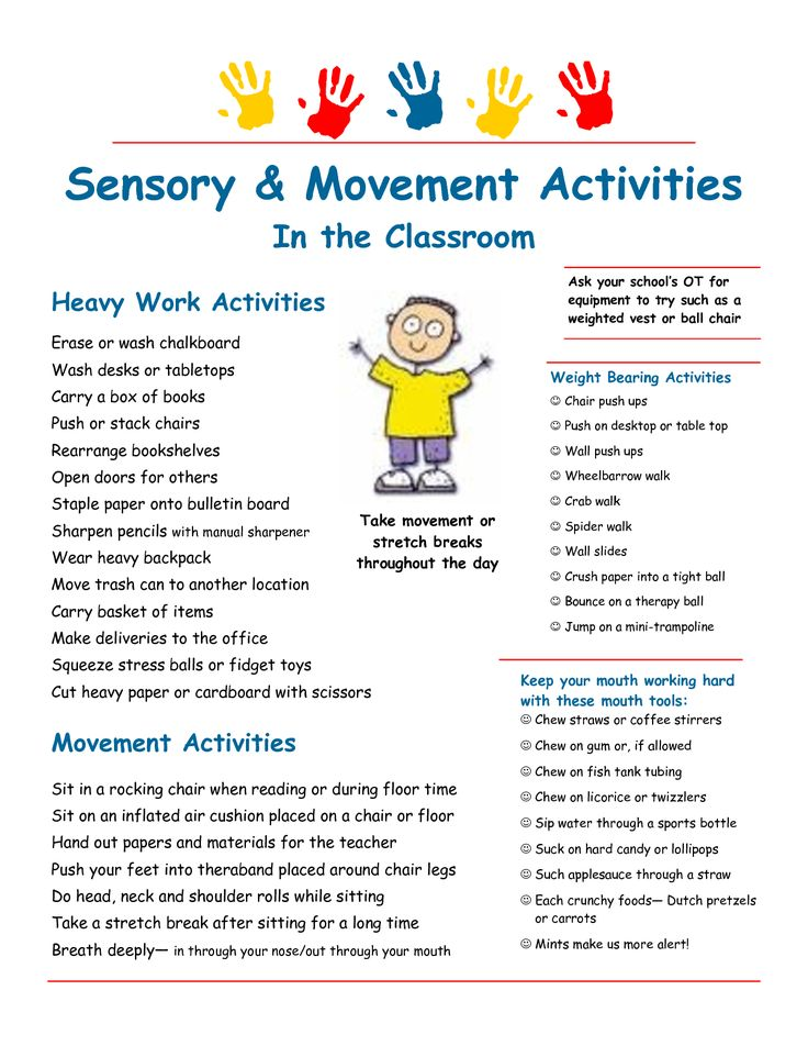 Sensory strategies & heavy work suggestions for the classroom More