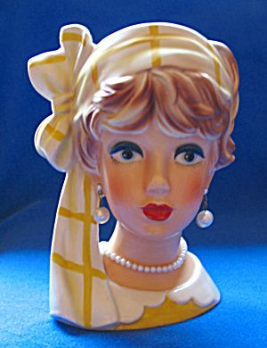 lady head vases | Lady Head Vase Relpo K 1941 (Head Vase:) at Cookie's Collectibles