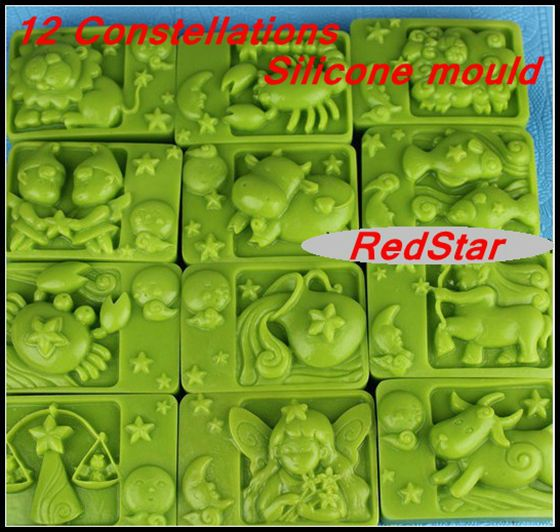 not-distort-thicken-weight-350g-12-Constellation-silicone-mold-handsoap-gel-silica-mould-candel-mold-1pcs
