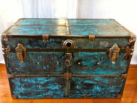 Antique Metal Steamer Trunk with Teal Milk Paint.  Boho Industrial with amazing metal work by LaBellaPatina, $300.00