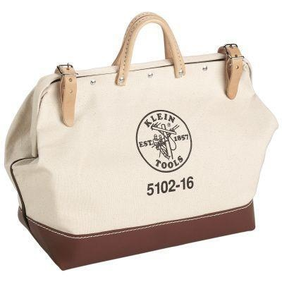 """Klein Tools 16"""" Tool Bag -- no carrying strap, site mislabels as 6"""", not leather bottom $50"""