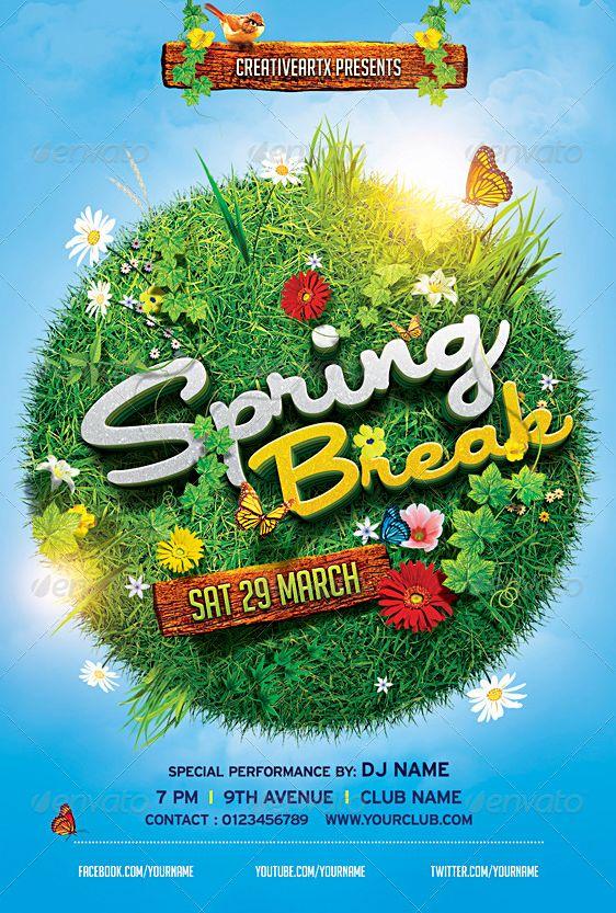 15 spring break party flyer template psd