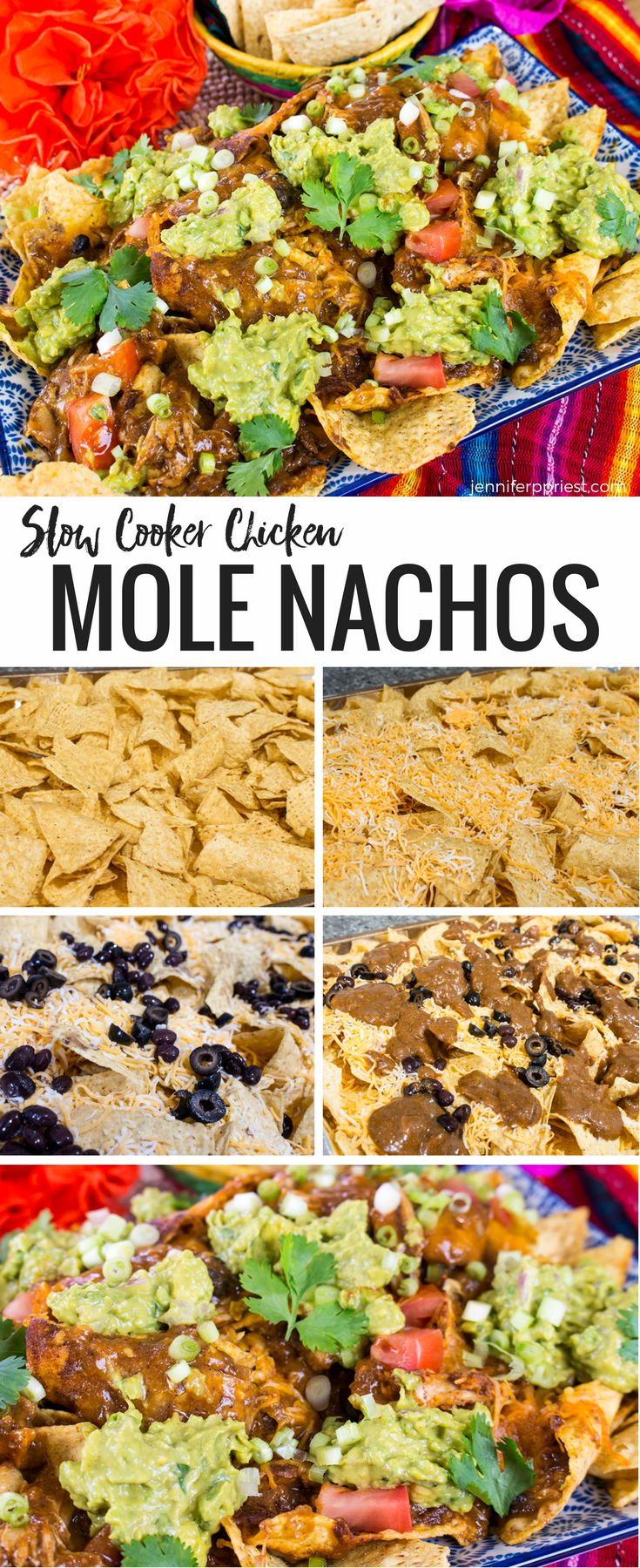 The best nachos ever - take the Mexican recipe for mole and take it to the next level! Make these chicken mole nachos - so delicious with creamy guacamole from Knorr! Get the recipes at jenniferppriest.com #PruebaElSaborDeKnorr - recipe created in partnership with Mirum and Knorr.