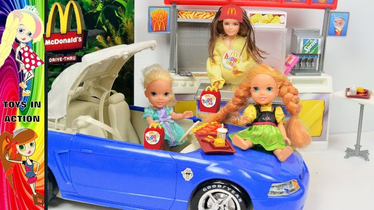 Anna and Elsa Toddlers Mcdonalds Drive thru! Bad Baby Evil Elsa Fairy Go...