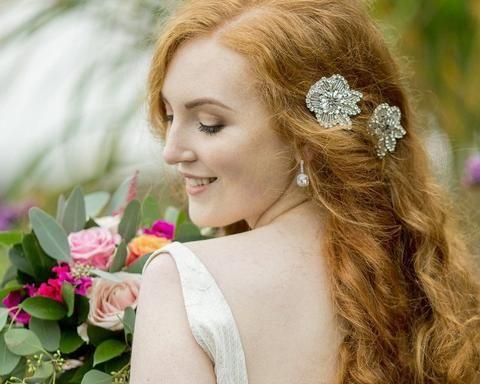 Vintage Side Headpieces - Rhinestone Appliqué Wedding Hair Clips, Bailey