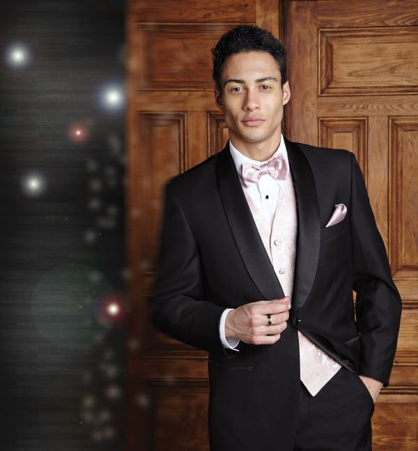 Black Tuxedo with Blush Pink vest and bow tie. Tuxedo color combo. Suit color combo.