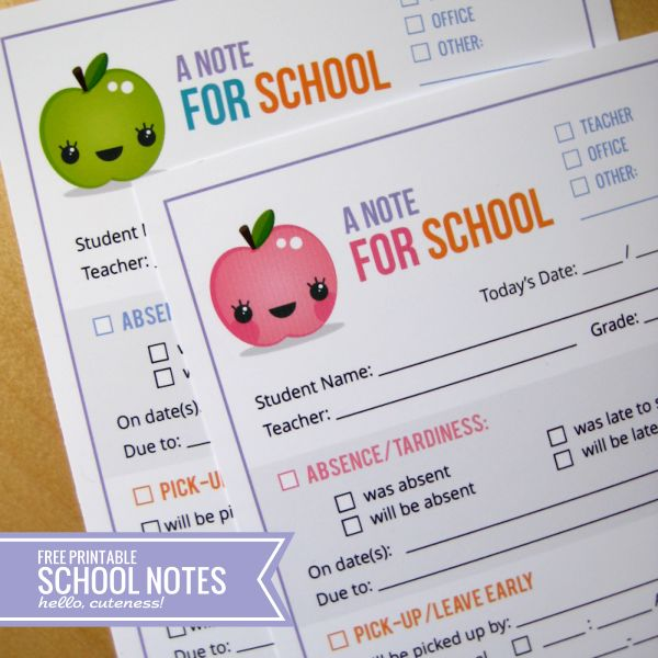 {Free Printable} School Notes, Redesigned! — Hello, Cuteness!