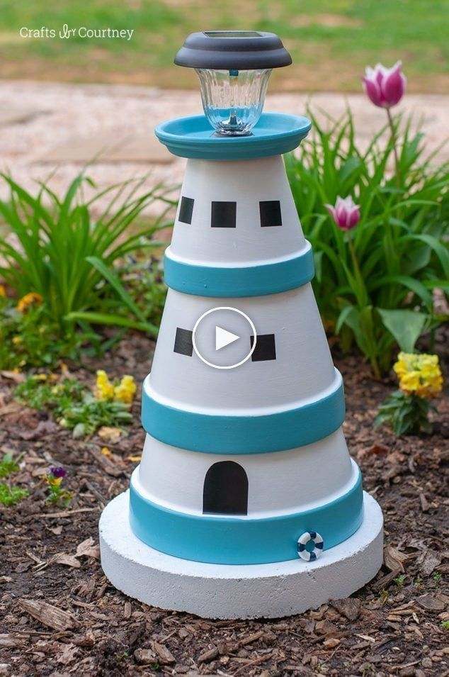 Gardenprojects Diygarden Gardenideas Lighthouse Diy Clay Pot Lighthouse 15 In 2020 Diy Terra Cotta Pots Diy Garden Projects Clay Pot Lighthouse
