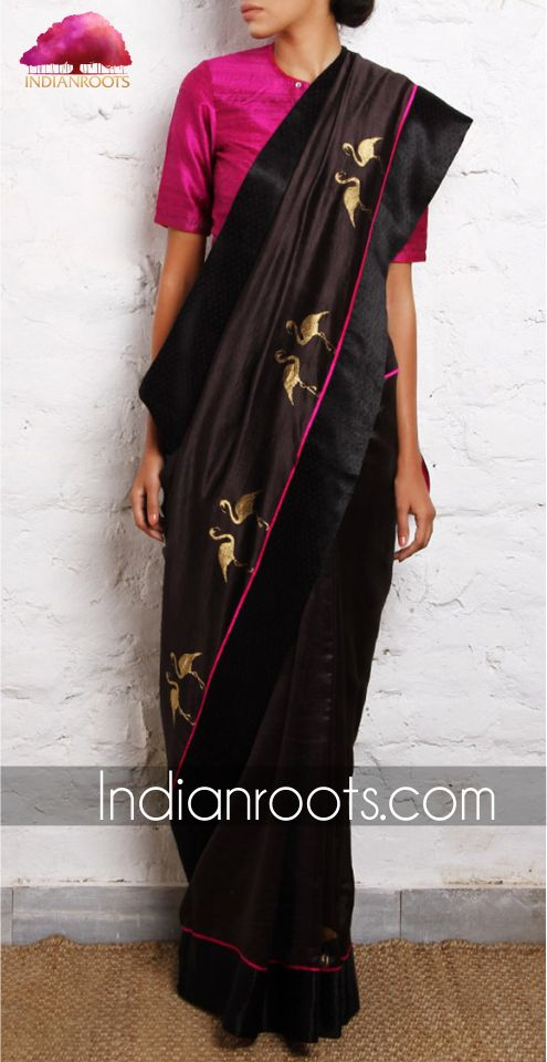 Flamingo black Chanderi handwoven saree by Raw Mango on Indianroots.com