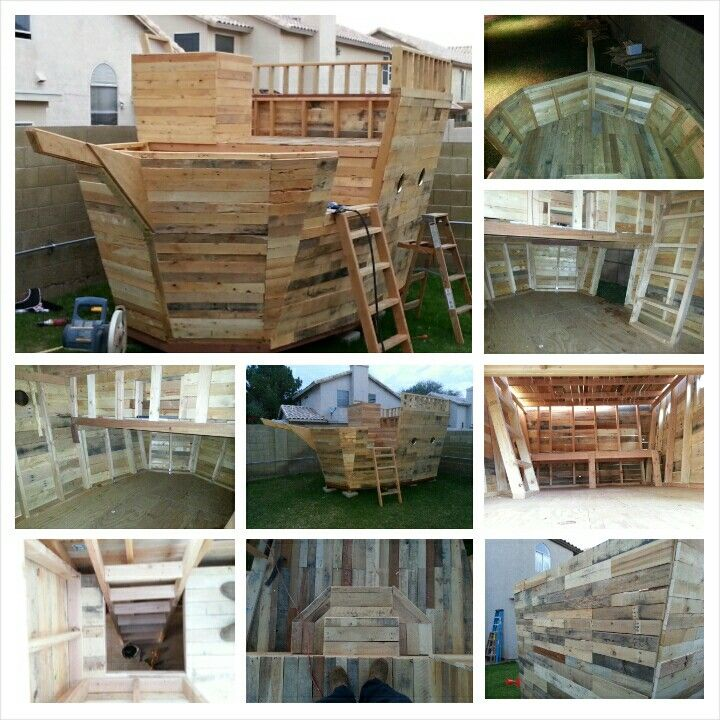 Best 25 pallet pirate ship ideas on pinterest for Pallet boat plans