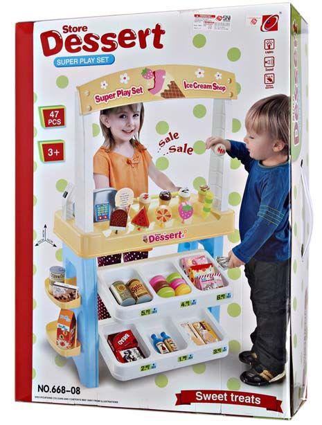 Stand untuk berjualan Dessert ice cream tiruan, lengkap dgn uang, produk display, sangat cocok di mainak buah hati sambil belajar berhitung dan komunikasi.